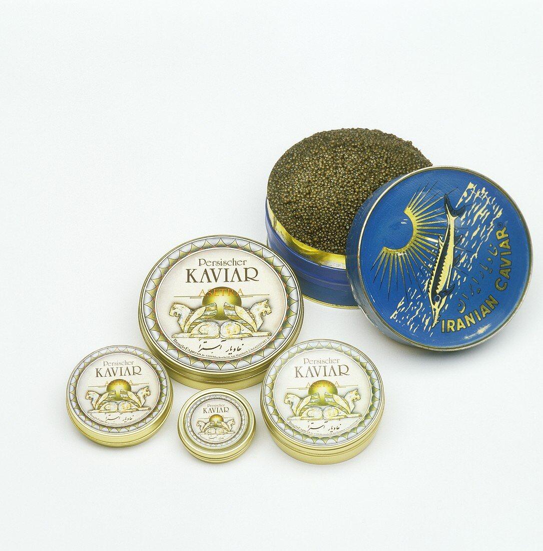 Black caviar from Iran in tins