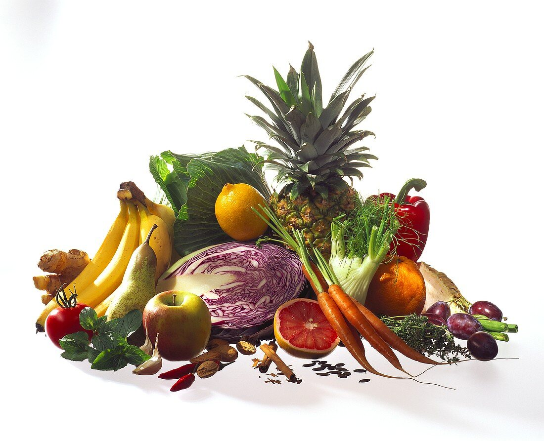 Still life with fruit, vegetables, herbs & spices
