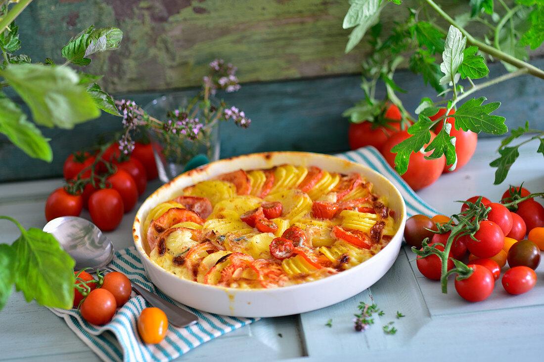 Vegetarian potato and tomato gratin with gorgonzola