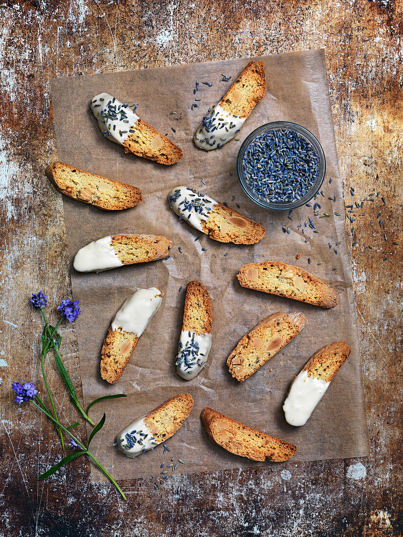 cookies, biscuits with lavender and white chocolate