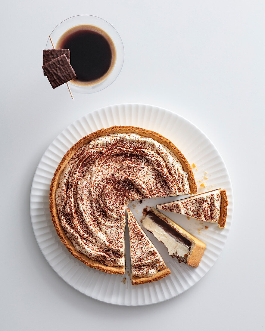 A ricotta and chocolate tart and an espresso with coffee liqueur
