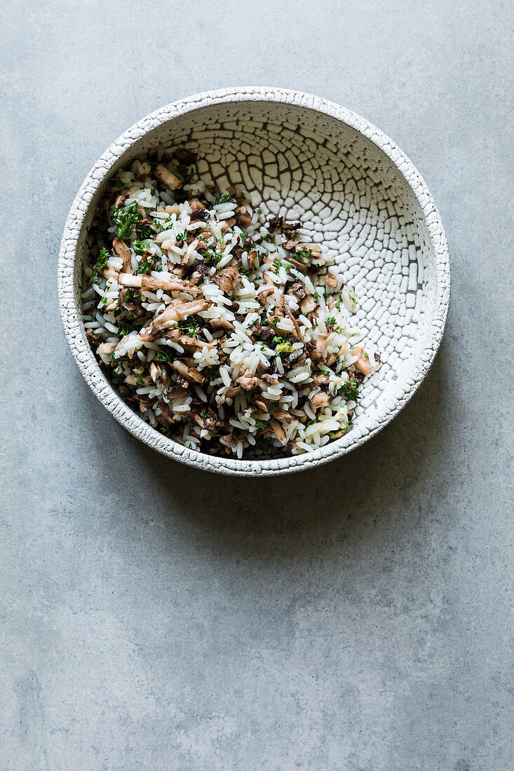 Mushroom rice with butter and parsley