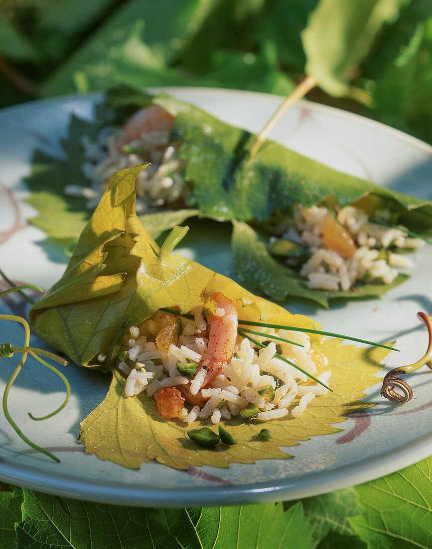 Stuffed vine leaves with rice and prawns