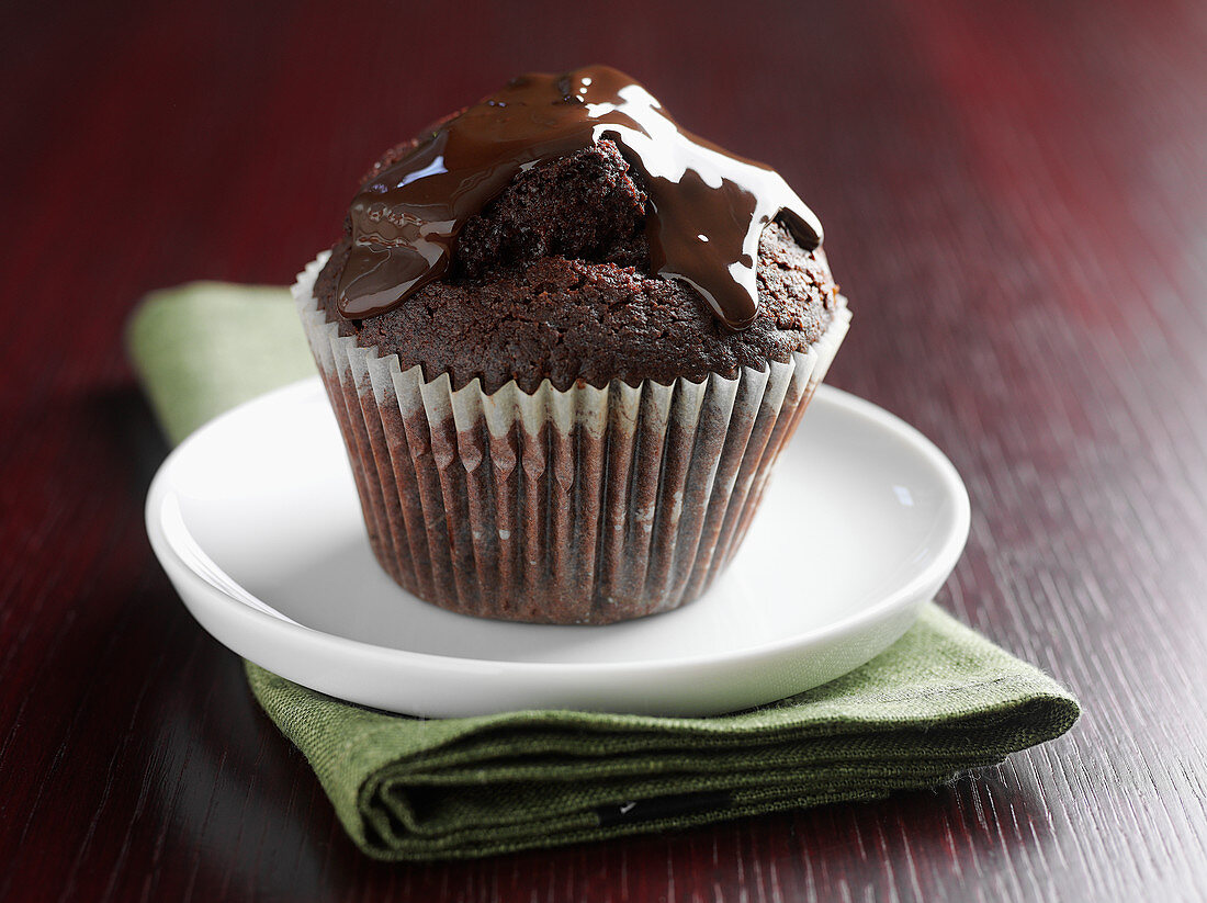 Chocolate muffin with chocolate icing