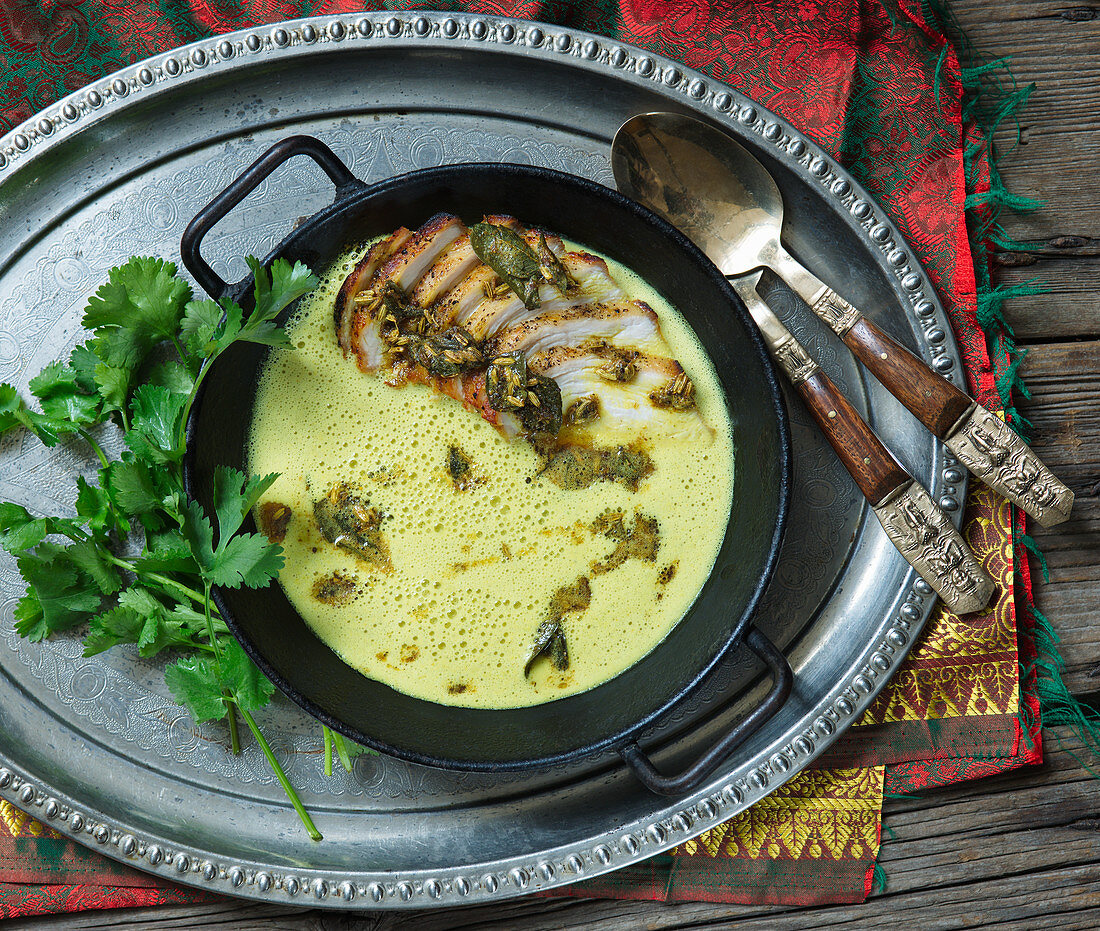 Asian corn soup with chicken breast