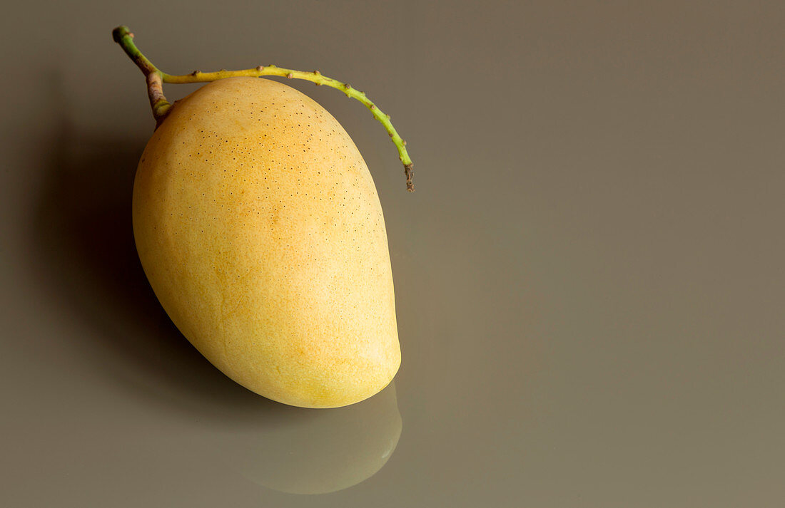 A mango on a grey surface