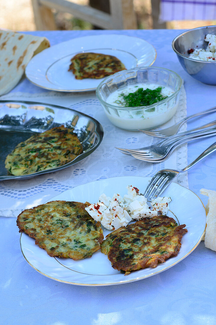 Turkish courgette and potato fritters with feta cheese and yoghurt