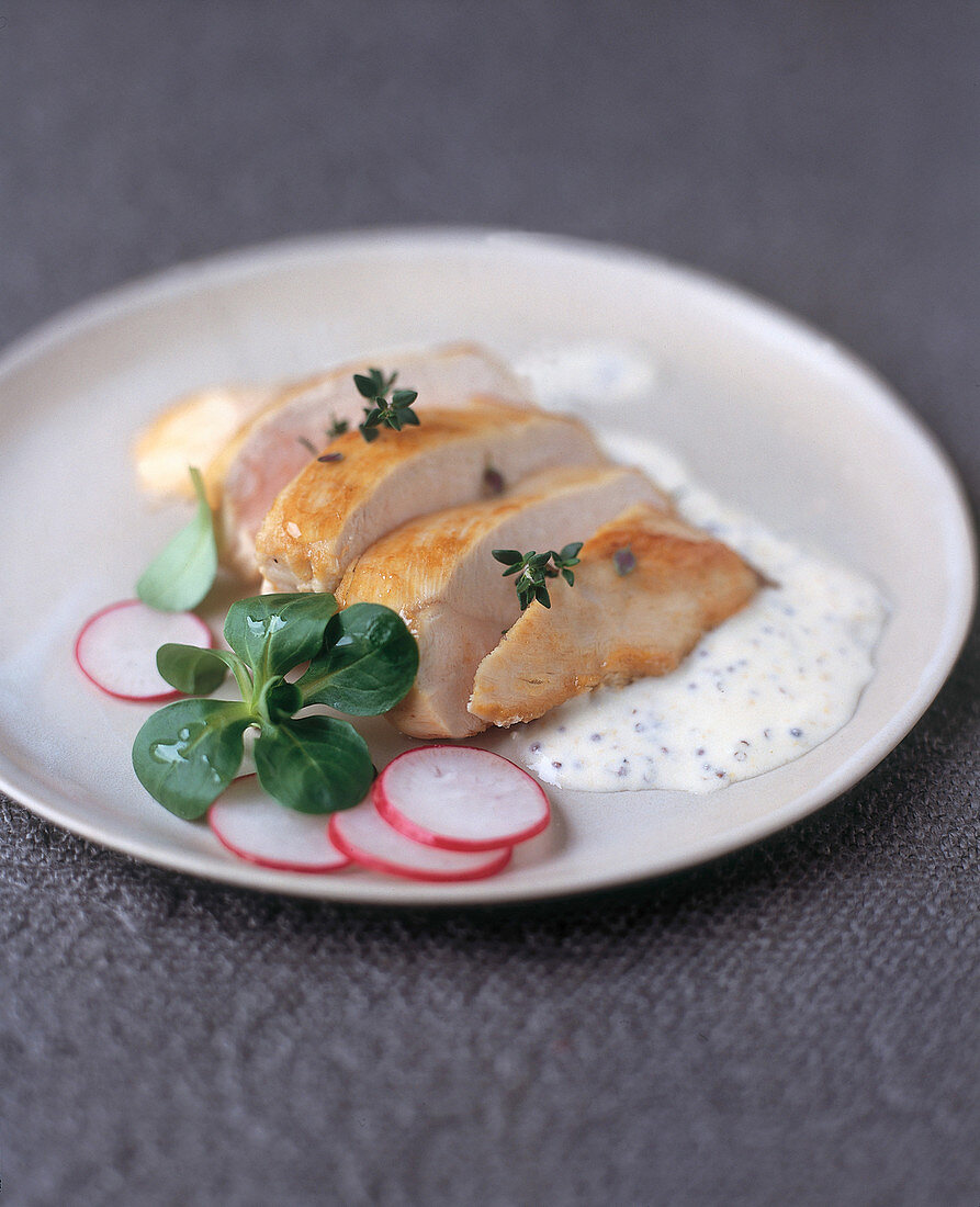 Chicken breast with a yoghurt and mustard sauce