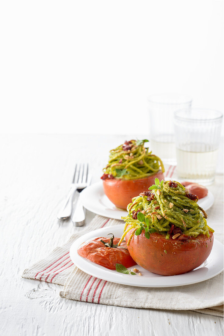 Tomatoes with an aromatic tagliolini filling