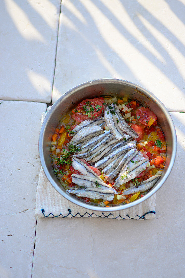 Roasted Turkish sardine fillets with Mediterranean vegetables