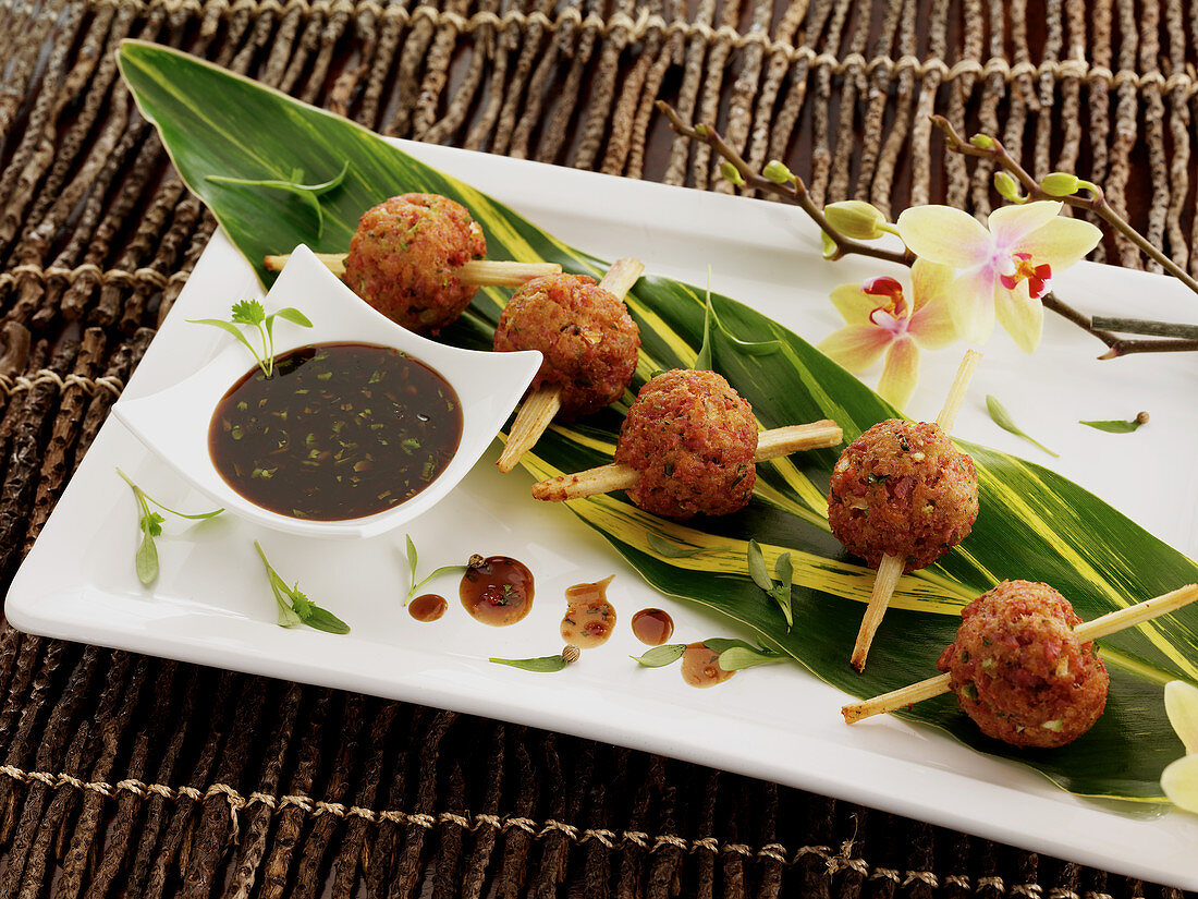 Accras fritters with tamarind sauce