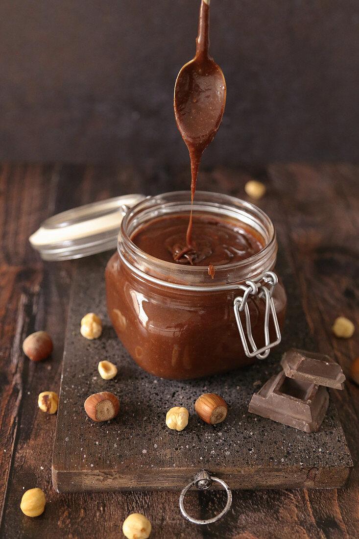 Homemade chocolate and hazelnut cream