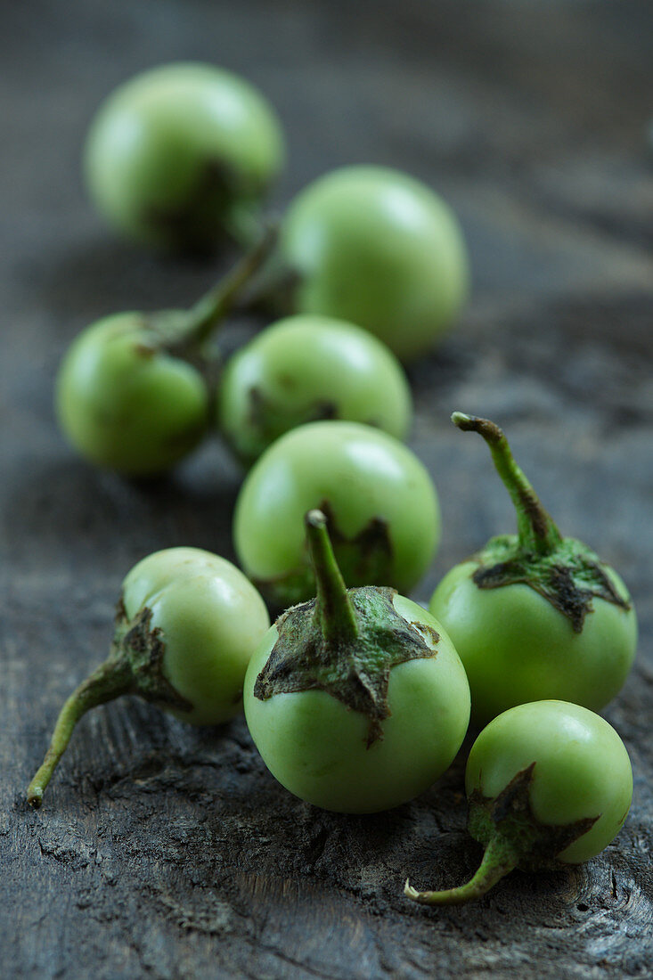 Fresh green Thai eggplants