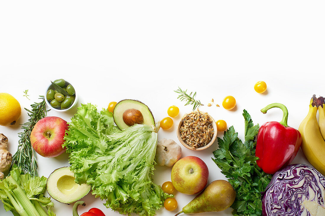 Healthy raw organic vegetables, herbs, sprouts and fruits