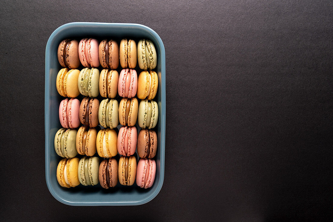 Colorful macaroons displayed inside blue container on black background