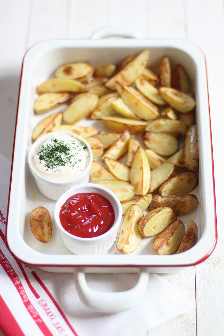 Homemade fries with dips