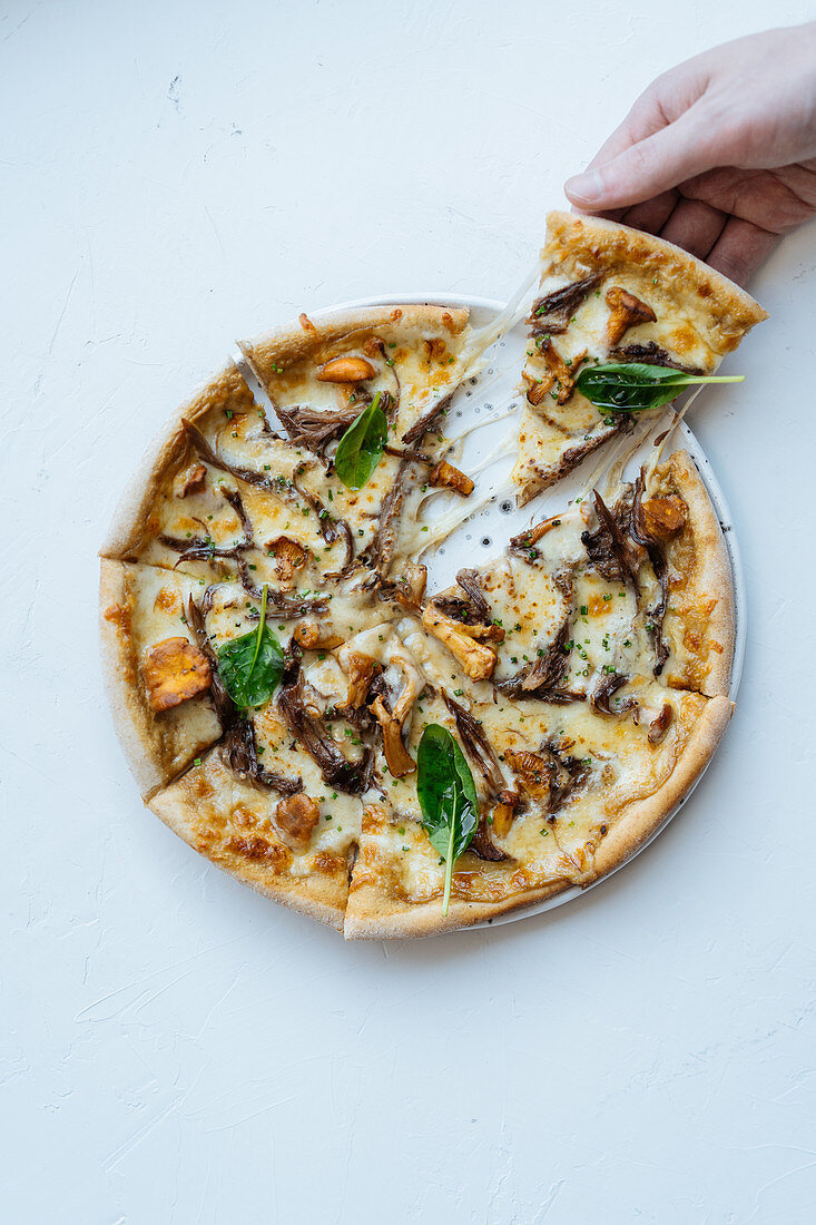 Person taking slice of seafood pizza with mushrooms and basil