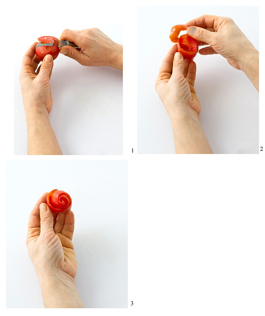 A tomato skin being rolled into a rose