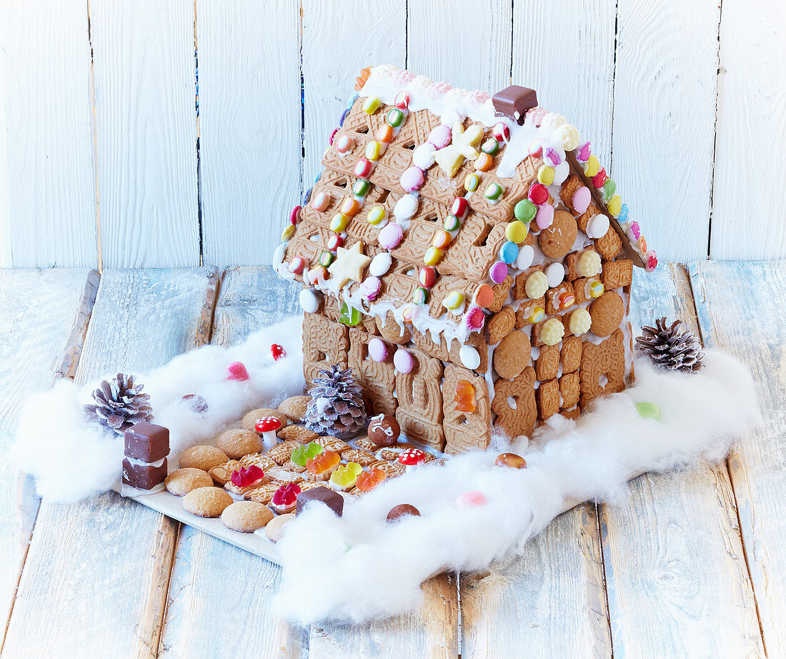 Colorfully decorated gingerbread house