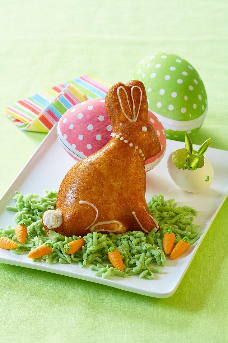 Easter bunny on fondant grass