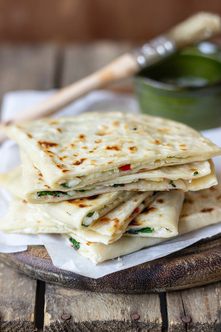 Gozleme with halloumi cheese, parley and chilli, melter butter