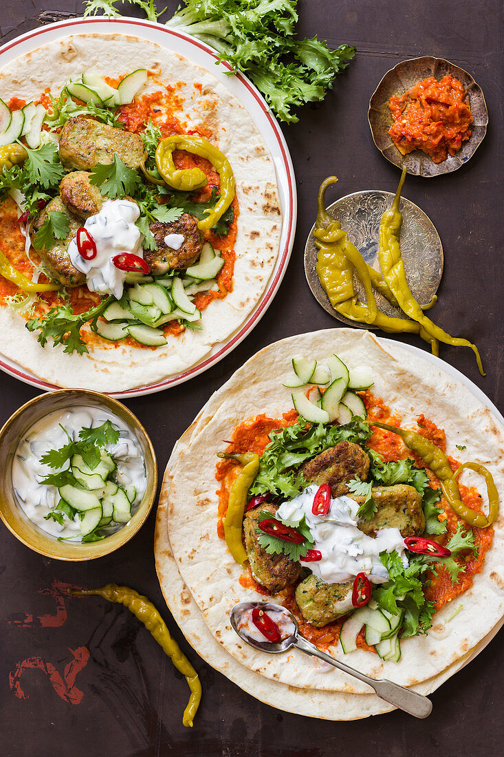 Vegetarian kofte, tortilla, harissa, yogurt with cucumber and coriander, green hot peppers