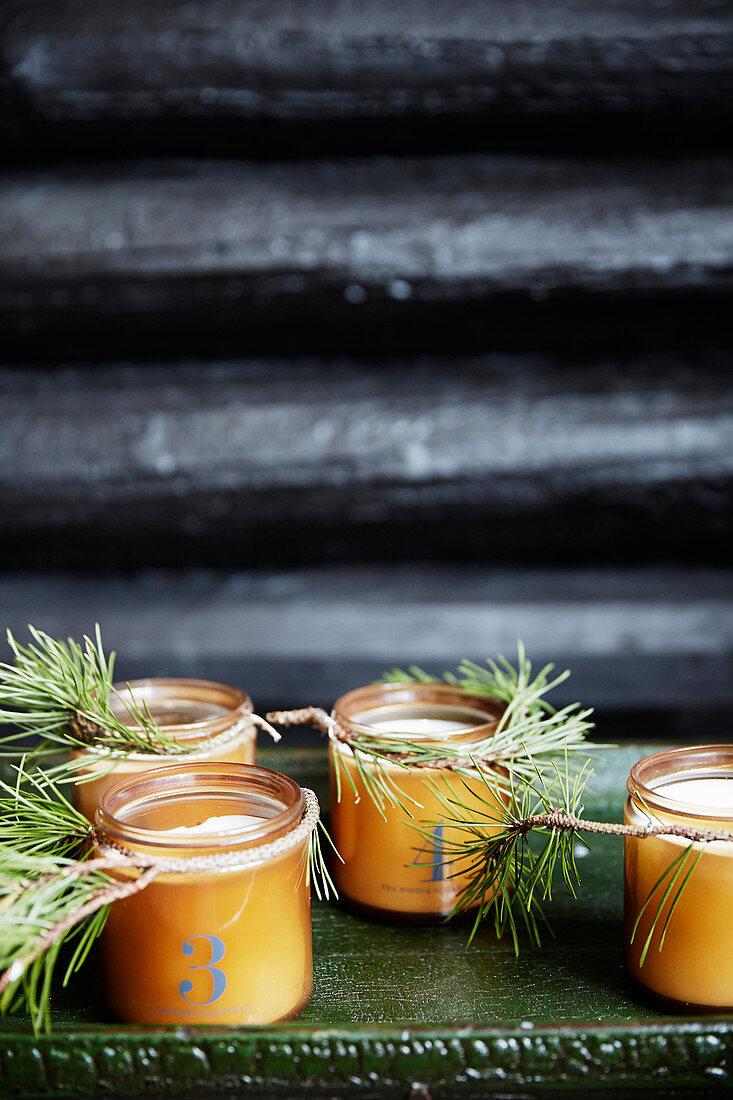DIY advent candles in screw-top jars