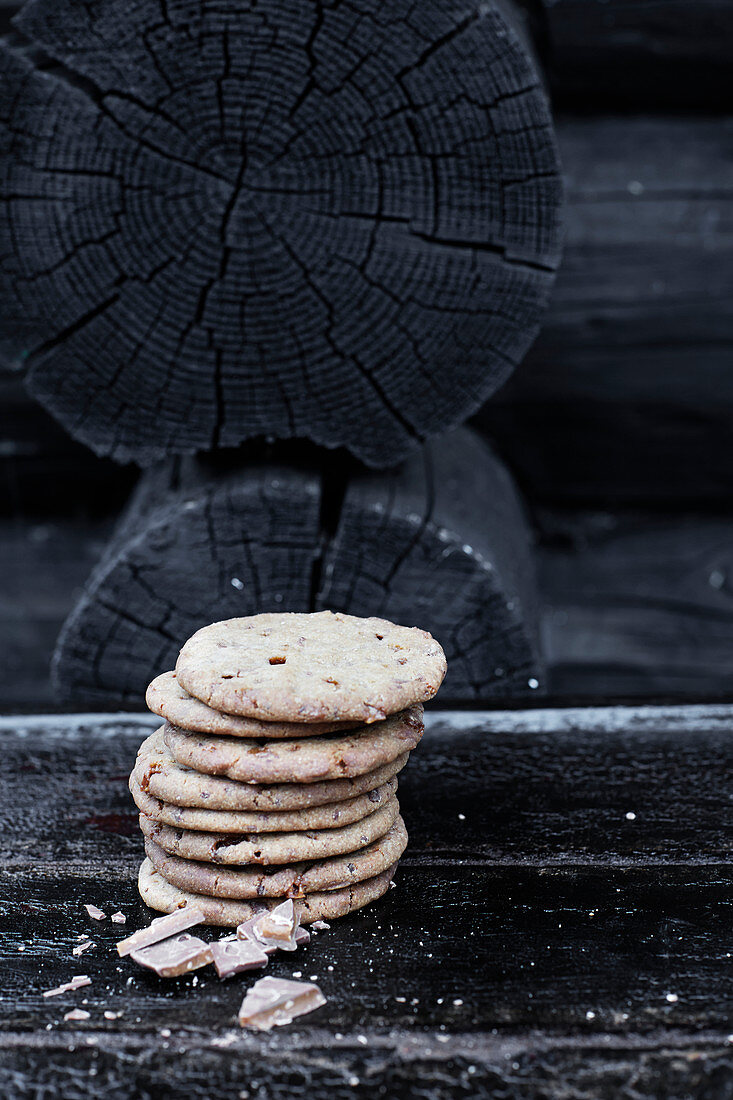 Cookies on a wooden background