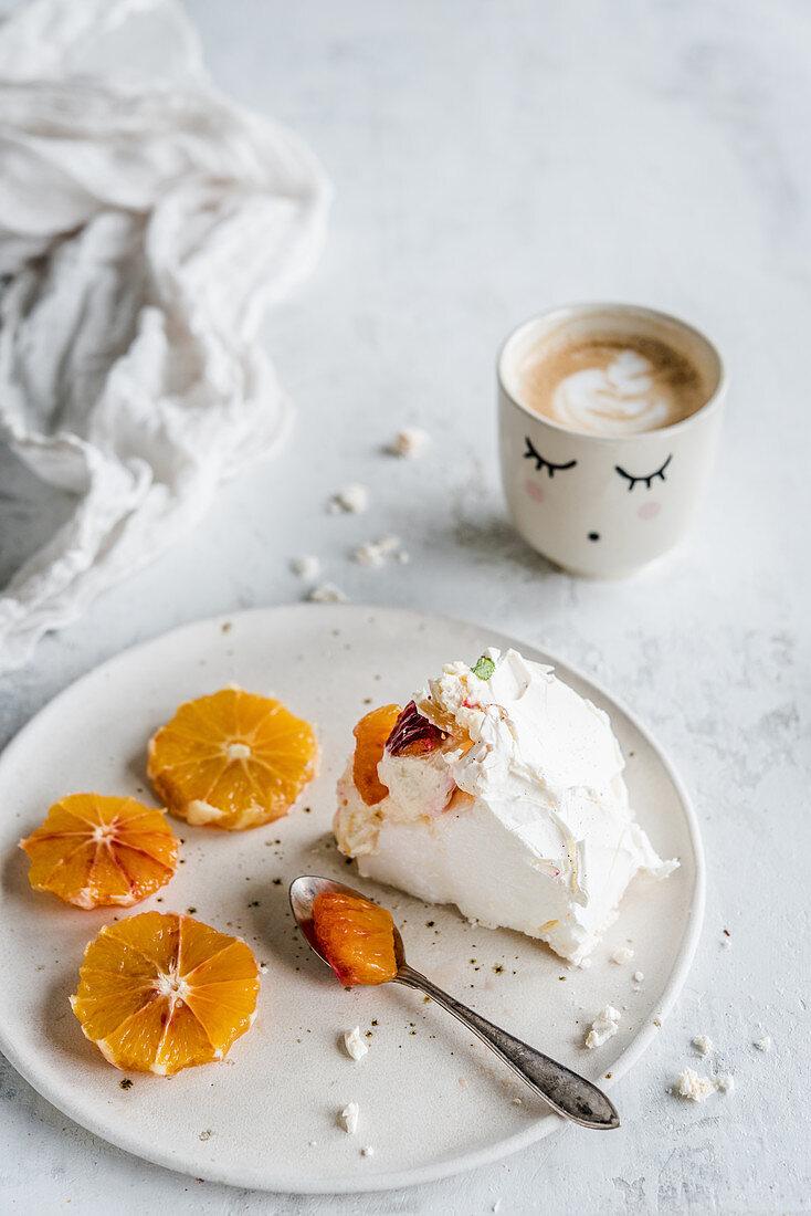 Meringue with orange