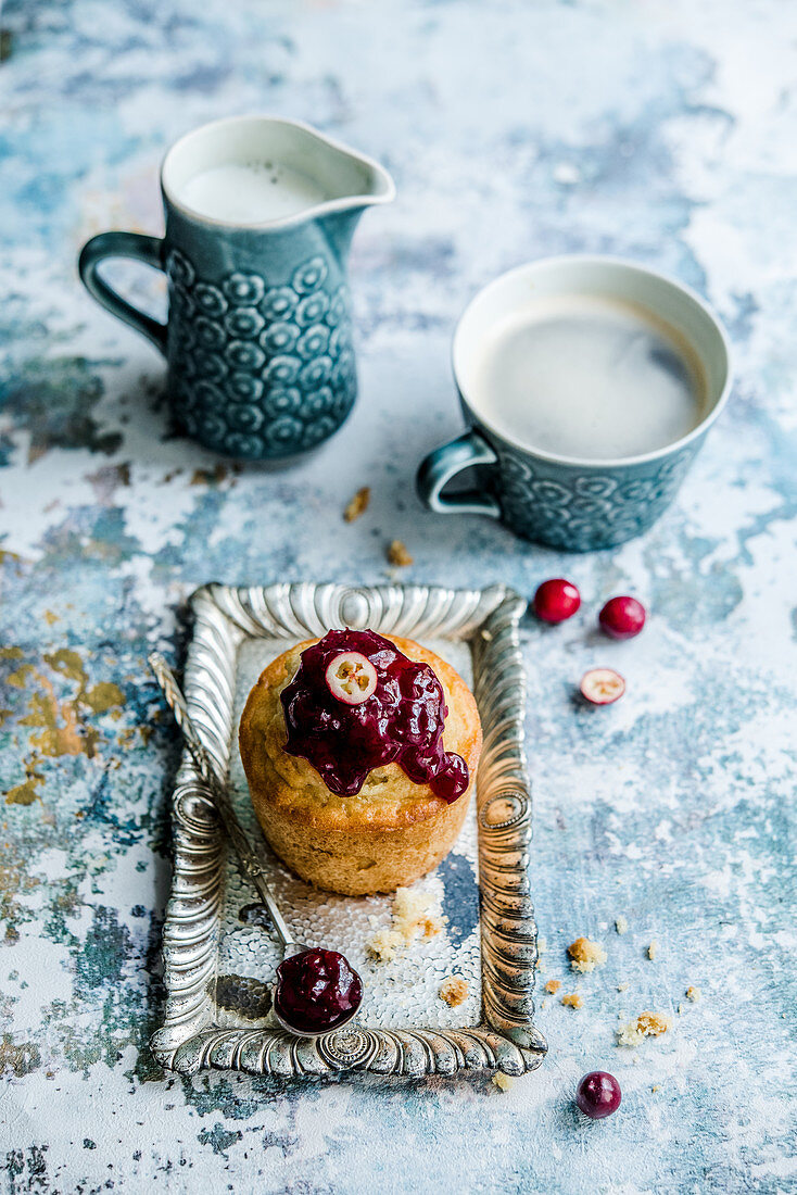 Muffin with fruit jam