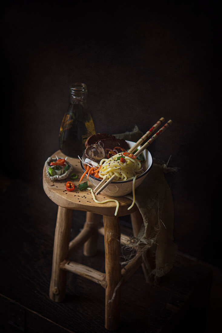 Black sesame and shiitake ramen
