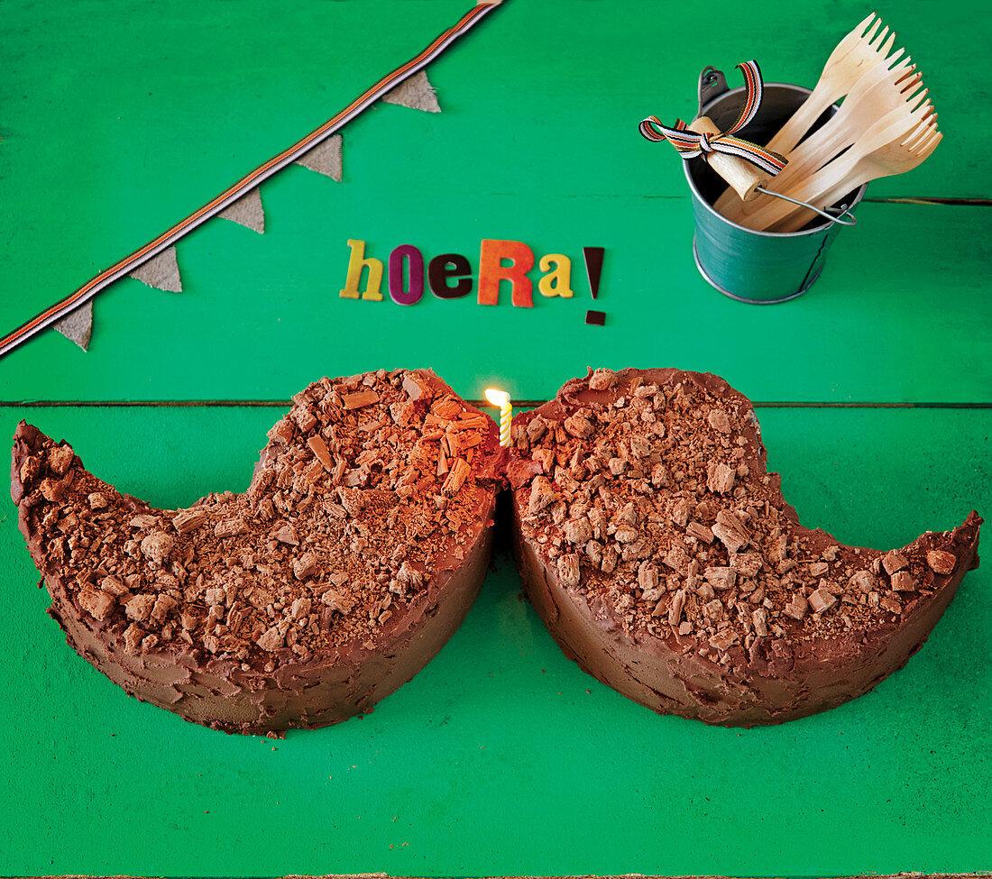 Moustache shaped birthday cake