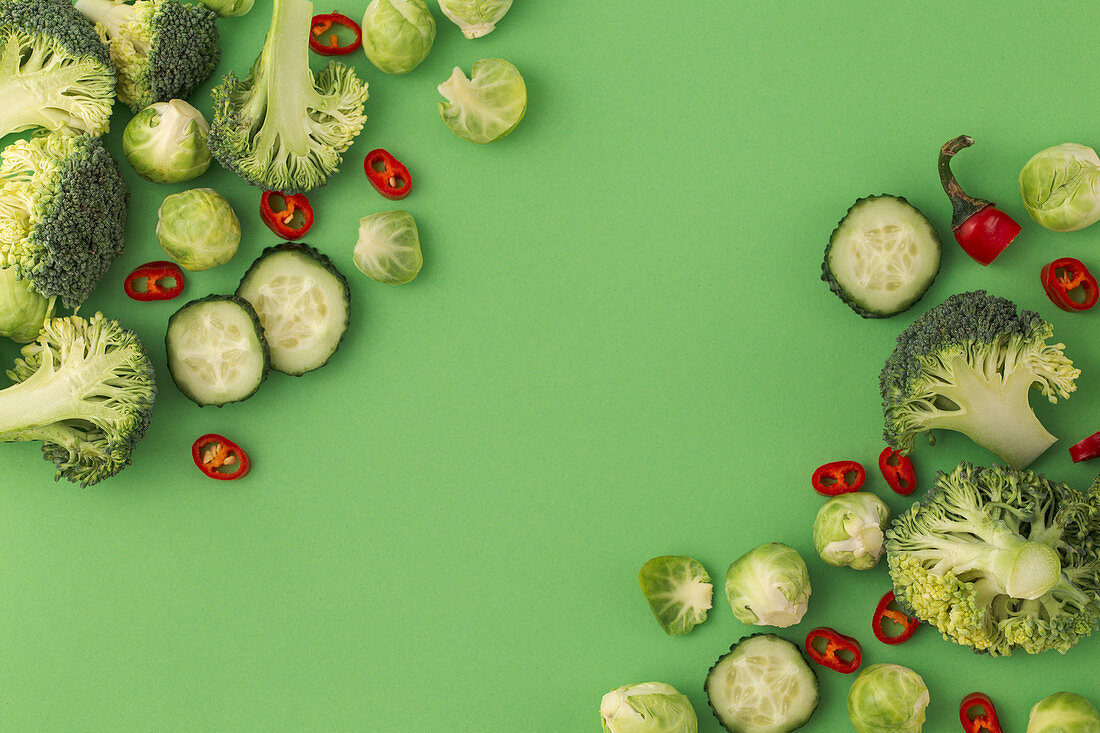 Vegetables food pattern made of broccoli, Brussels sprouts, cucumber, chili pepper