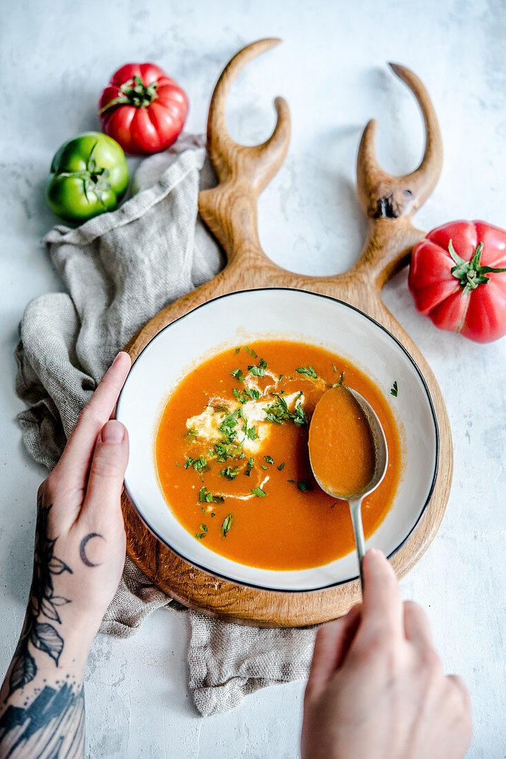 Tomato soup with creme fraiche