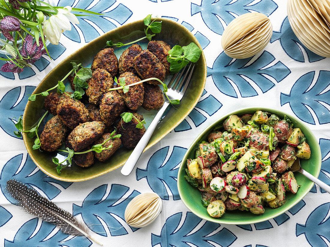 Lamb meatballs with potato salad with radishes
