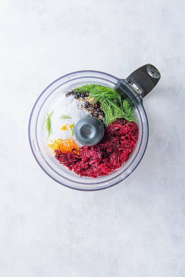 Gravlax marinade ingredients in a blender