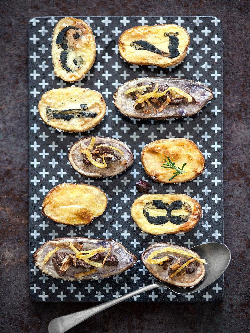 Potato slices with chicken liver