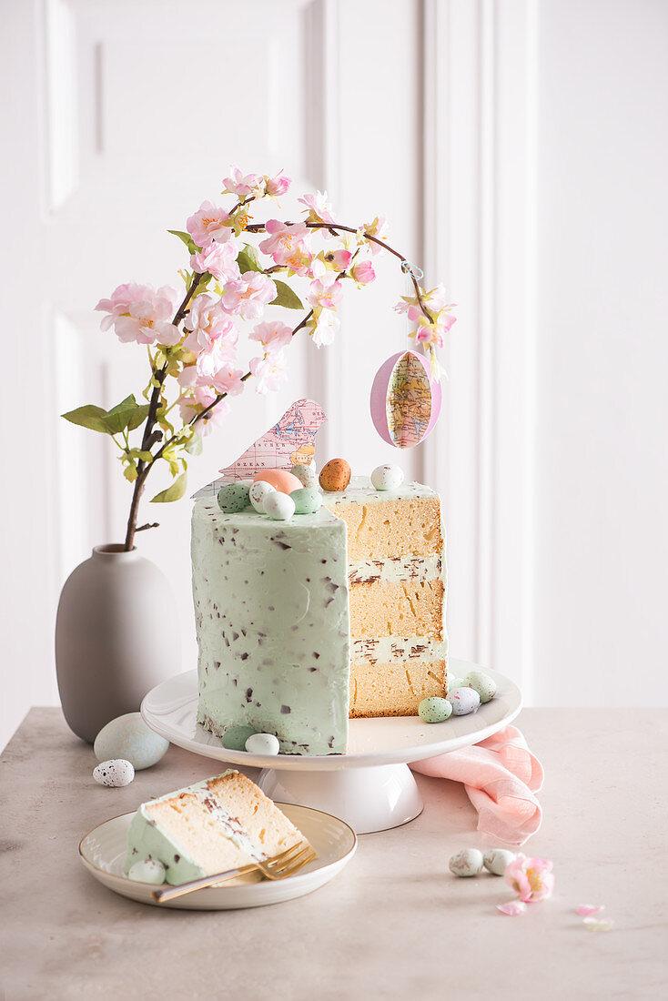 An Easter stracciatella cake, sliced