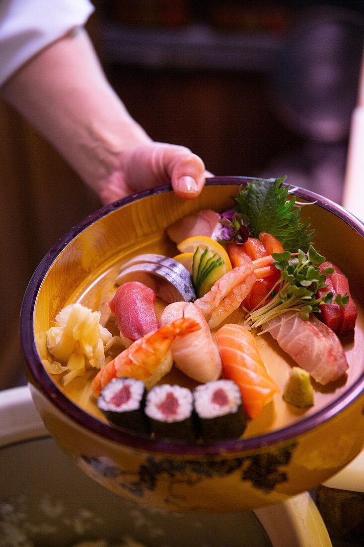 A sushi sashimi platter in 'Matsumi', a Japanese restaurant in Hamburg
