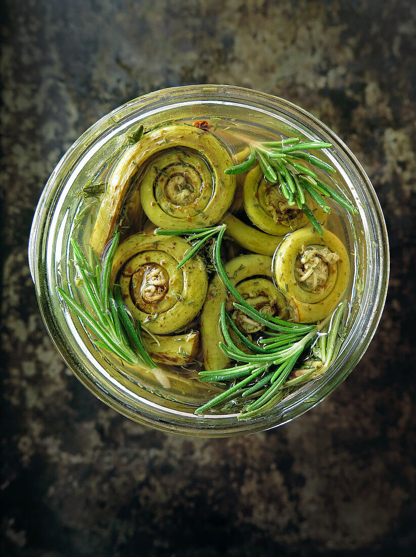 Preserved fiddleheads with rosemary