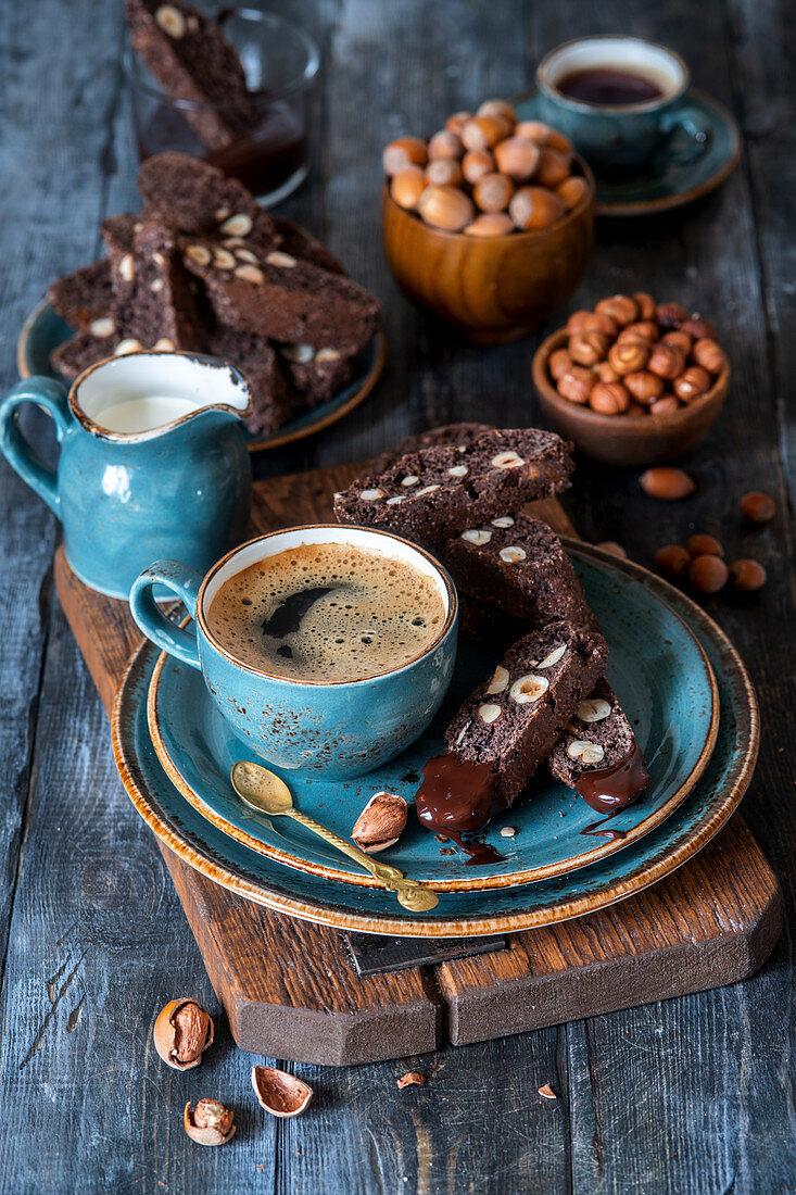 Biscotti with chocolate and hazelnut