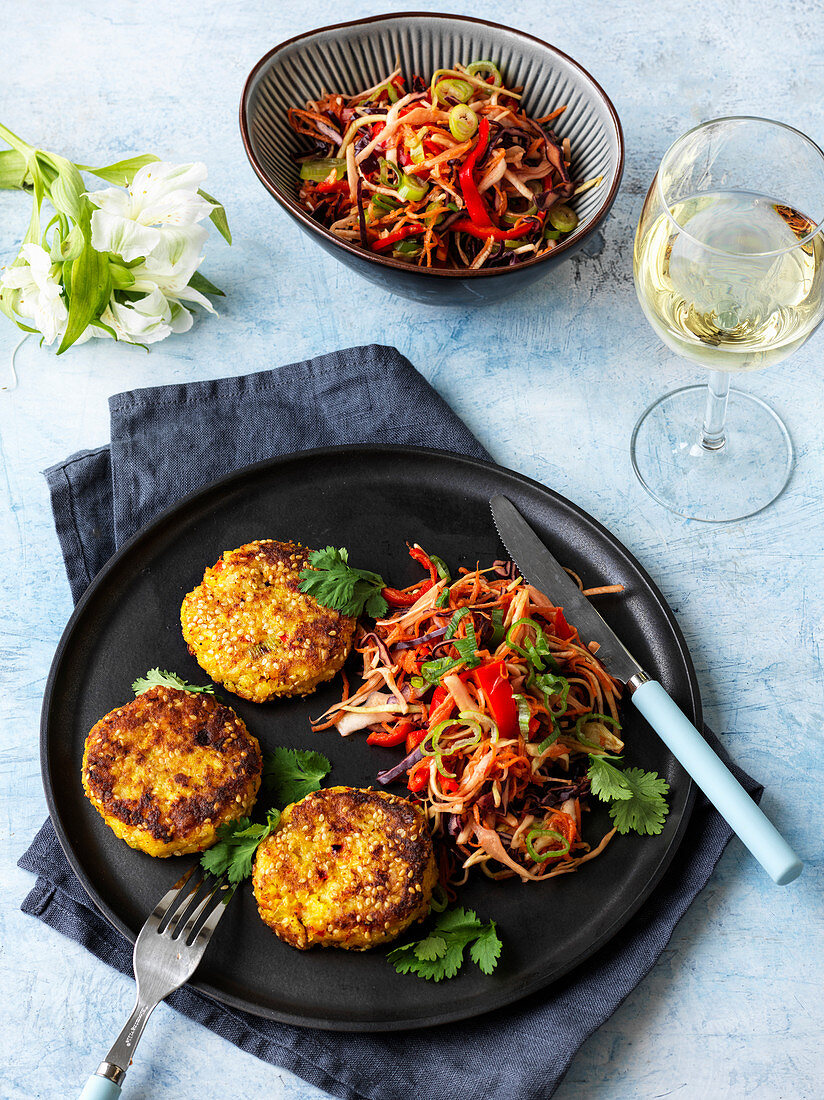 Potato and prawn fritters with oriental stir-fried vegetables
