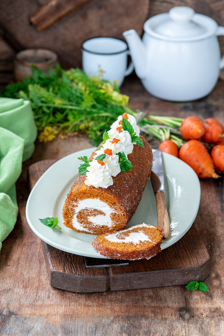 Karottenroulade mit Frischkäse