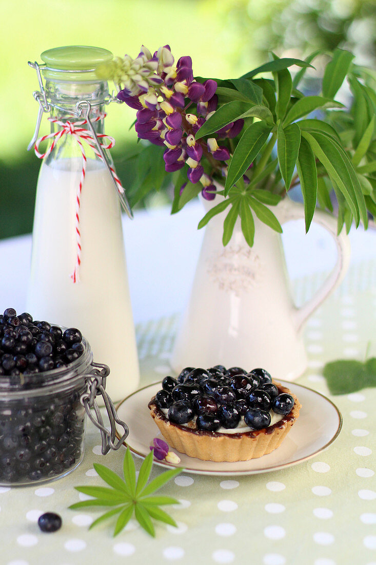 Blueberry cake and a bottle of milk