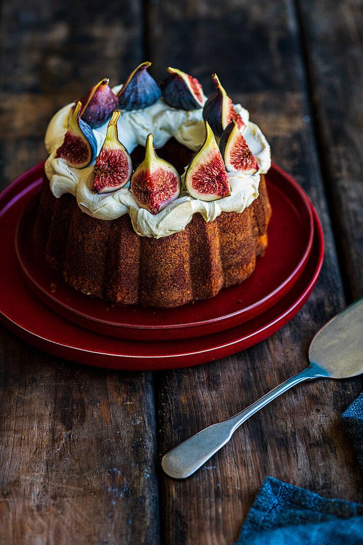 Orange Cake with Figs and Creme Fraiche
