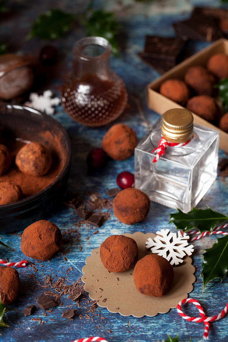 Gin truffles freshly rolled in coco powder with mini bottle of gin