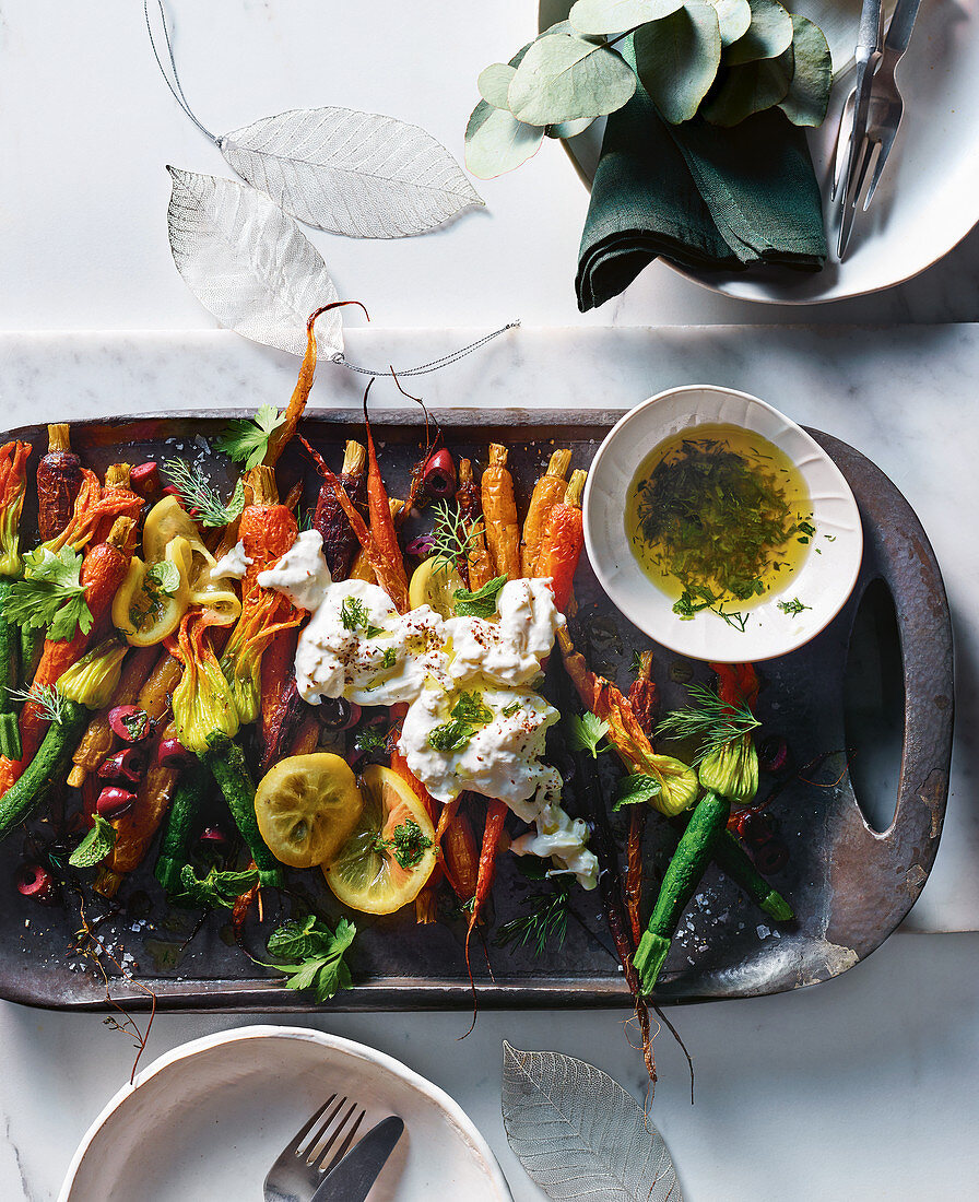 Roast carrots and zucchini flowers with confited lemon