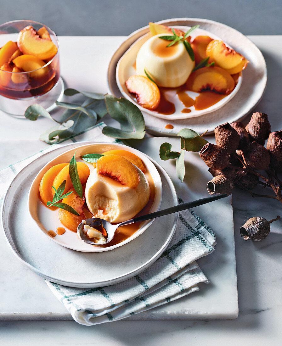 Lemon verbena panna cotta with honeyed peaches