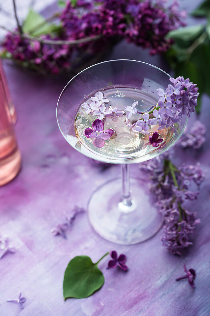 Cocktail with lilac syrup