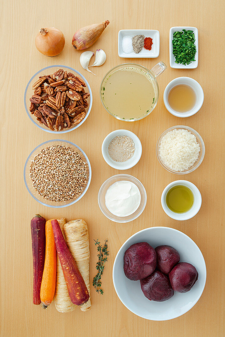 Ingredients for buckwheat bake with a nut crust and beetroot salad